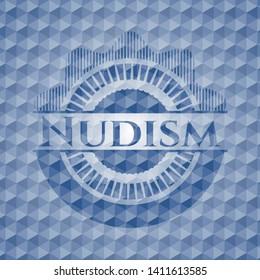 Nudism blue emblem with geometric pattern. Vector Illustration. Detailed.