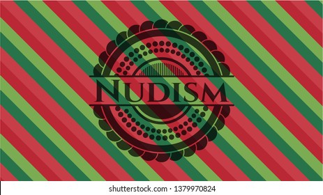 Nudism christmas emblem background.