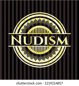 Nudism golden badge or emblem