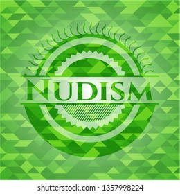 Nudism green emblem with mosaic background