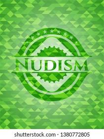Nudism green emblem. Mosaic background