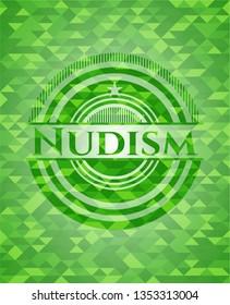 Nudism green mosaic emblem