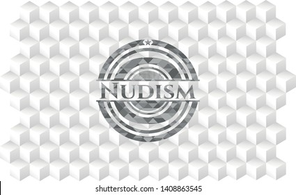 Nudism grey badge with geometric cube white background