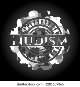 Nudism grey camouflaged emblem