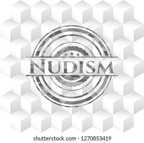 Nudism grey emblem with cube white background