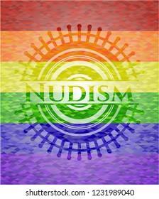 Nudism lgbt colors emblem