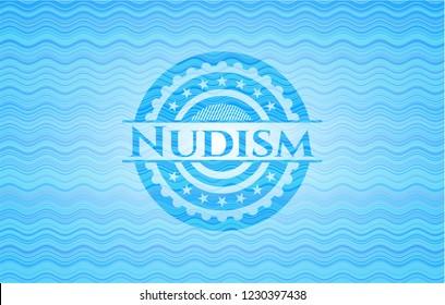 Nudism light blue water badge background.