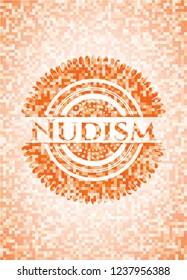 Nudism orange mosaic emblem with background