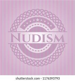 Nudism pink emblem. Retro