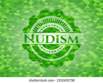 Nudism realistic green mosaic emblem