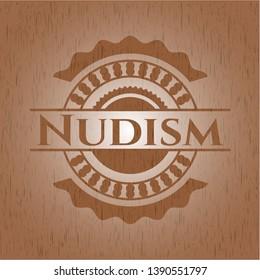Nudism realistic wood emblem. Vector Illustration.