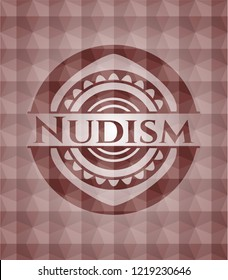 Nudism red seamless badge with geometric pattern.