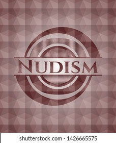 Nudism red seamless emblem with geometric pattern.