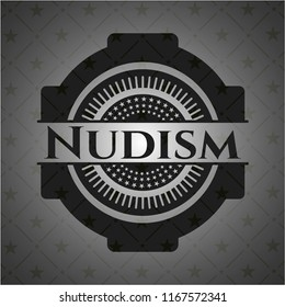 Nudism retro style black emblem