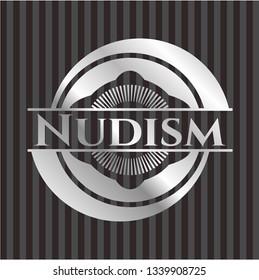 Nudism silvery badge or emblem