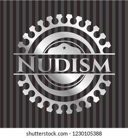 Nudism silvery emblem or badge