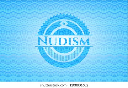 Nudism water concept style badge.