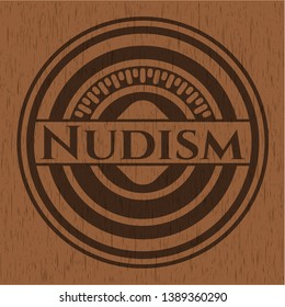 Nudism wood emblem. Retro. Vector Illustration.
