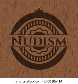 Nudism wood emblem. Vintage. Vector Illustration.