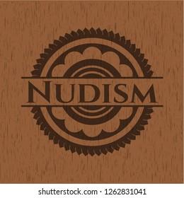 Nudism wood icon or emblem