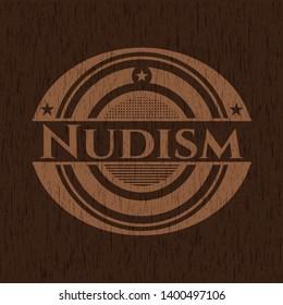 Nudism wood icon or emblem. Vector Illustration.