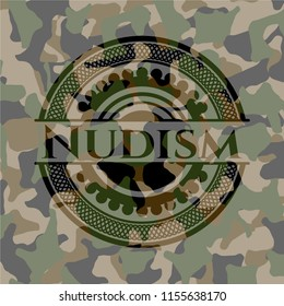 Nudism written on a camo texture