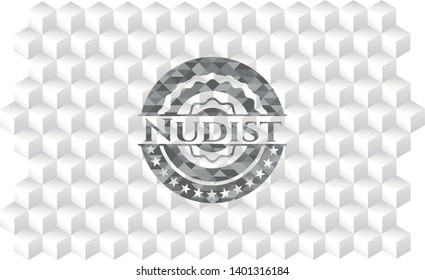 Nudist grey emblem with geometric cube white background