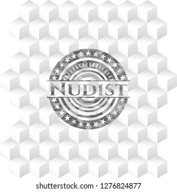 Nudist grey emblem. Retro with geometric cube white background