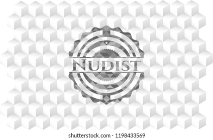 Nudist grey emblem. Vintage with geometric cube white background