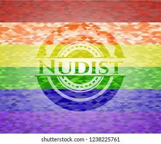 Nudist lgbt colors emblem