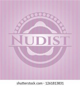 Nudist pink emblem. Retro