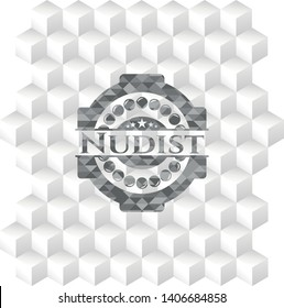 Nudist realistic grey emblem with geometric cube white background