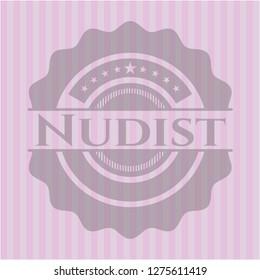 Nudist realistic pink emblem