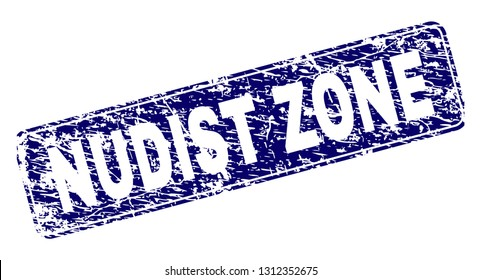 NUDIST ZONE stamp seal print with grunge texture. Seal shape is a rounded rectangle with frame. Blue vector rubber print of NUDIST ZONE label with scratched texture.