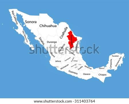 Nuevo Leon Mexico Vector Map Silhouette Stock Vector Royalty Free