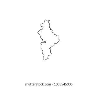 Nuevo Leon outline map Mexico