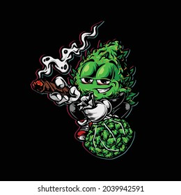 nug smoking blunt and holding bud flower weed cannabis color face high stoned