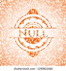 Null abstract emblem, orange mosaic background