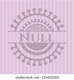 Null badge with pink background