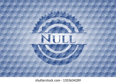 Null blue badge with geometric background.