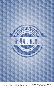 Null blue badge with geometric pattern.