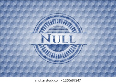 Null blue emblem or badge with abstract geometric polygonal pattern background.