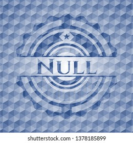 Null blue emblem with geometric background.
