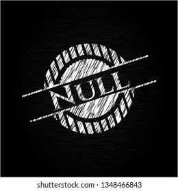 Null chalkboard emblem written on a blackboard