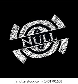 Null chalkboard emblem written on a blackboard. Vector Illustration. Detailed.