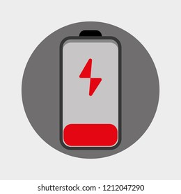 A null or empty battery, low battery