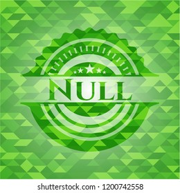 Null green emblem with mosaic ecological style background