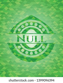 Null green emblem with mosaic ecological style background. Vector Illustration. Detailed.