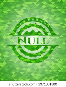 Null green emblem with triangle mosaic background