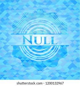 Null light blue emblem. Mosaic background